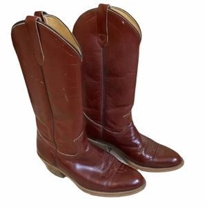 Vintage Frye Burgundy Roper Cowboy Boots Sz 8 D